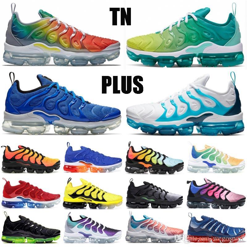 Meilleures ventes nike vapormax TN plus Triple blanc noir olympique arc-raisin Hommes Chaussures de course Femmes Be True Royal Game Racer bleu sneakers Designer