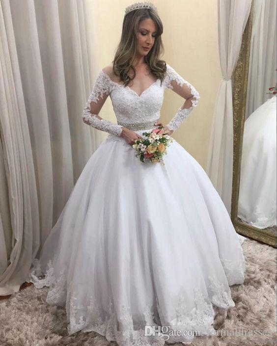 Elegante Branco vestido De Baile Vestido de Noiva 2019 V Neck Lace Applique Frisado Cintura Illusion Manga Longa Berta Vestidos De Noiva Robe De Mariee Personalizado