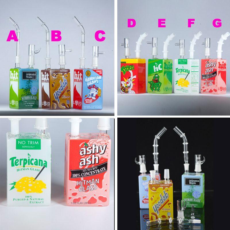 Hitman Glass Water Bongs Dab Rigs 7.5 인치 키 큰 시리얼 주스 상자 Oil Rigs 휴대용 물 담뱃대 두 기능 Bubbler 싼 14 미리 메터 흡연 Bongs