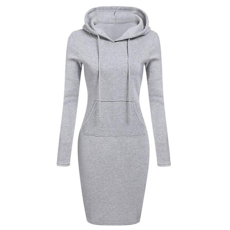 Litthing Printemps Chandail Chaud Robe À Manches Longues 2019 Femme Vêtements Col Molletonné À Poche Design Simple Robe Femme Z30 MX190727