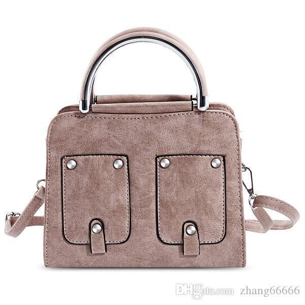 Crazy2019 Pop Attractive PU Leather Women Handbag Brand Rivet Pockets Tote Bag Office Lady Pipe Handle Shoulder Bag For Women