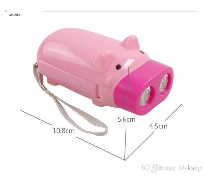 Novidade led piggy mão pressionando o poder 2 lanterna led em forma de porco protable dos desenhos animados tocha luz manivela poder acabar para lâmpada de acampamento
