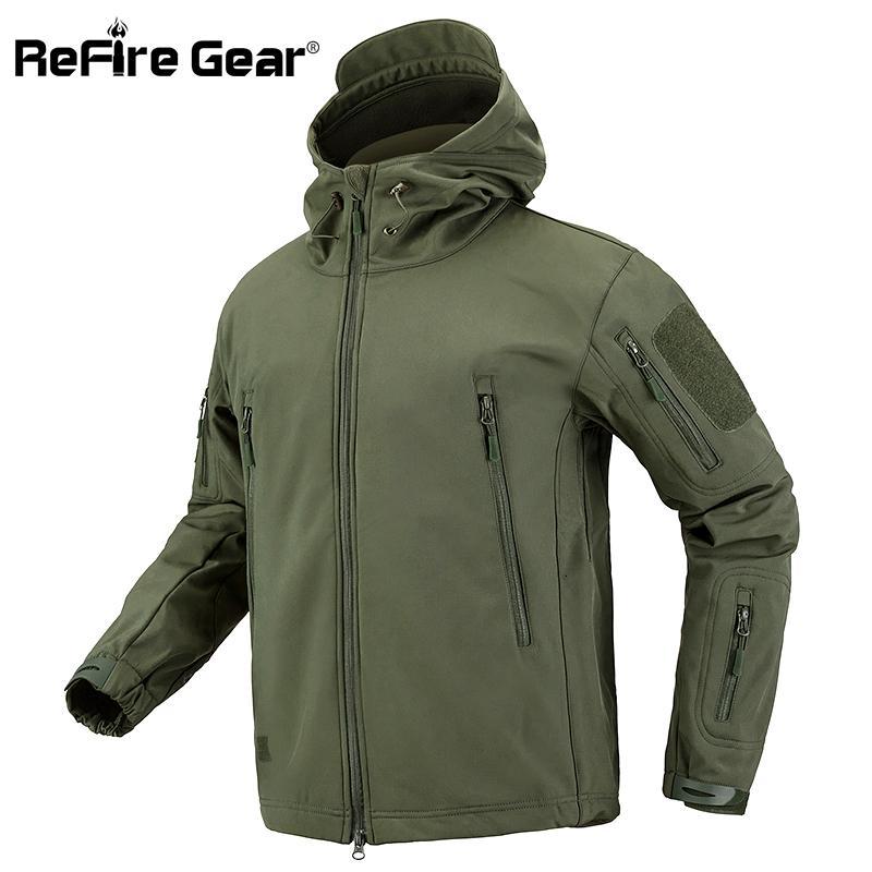 Army Camouflage Coat Jacket Men Soft Shell Waterproof Windproof Jacket Winter Hooded Coat