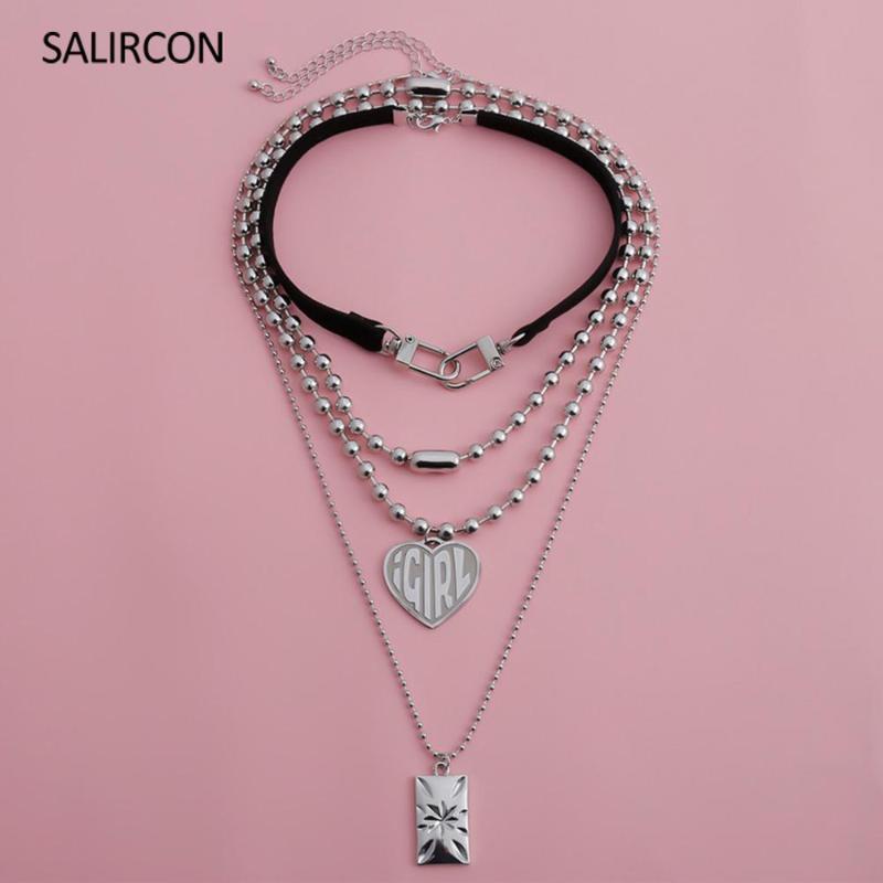 Salircon Punk Katmanlı Paslanmaz Çelik Kolye için Kadın Erkek Kare Kalp IGIRL kolye Deri kolye gerdanlık Boncuklu Mücevher