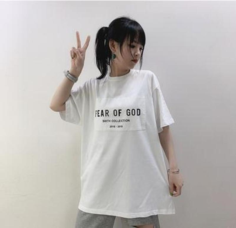 TEE Fashion Of God Men Collection 6th Hip Hop Simple Street Skateboard T-shirt Casual FOG Sleeves Fear Tee Short Women Summer Epdsm