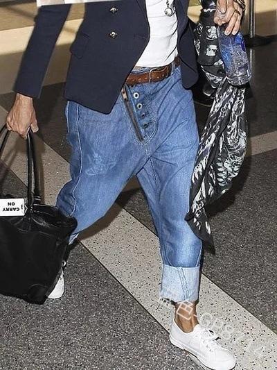 Mens irrégulière boutons Croix-Pantalon Lâche Harem Denim Jean pantalon Pleine longueur Poches Casual Mode Hommes de Long Pantalon