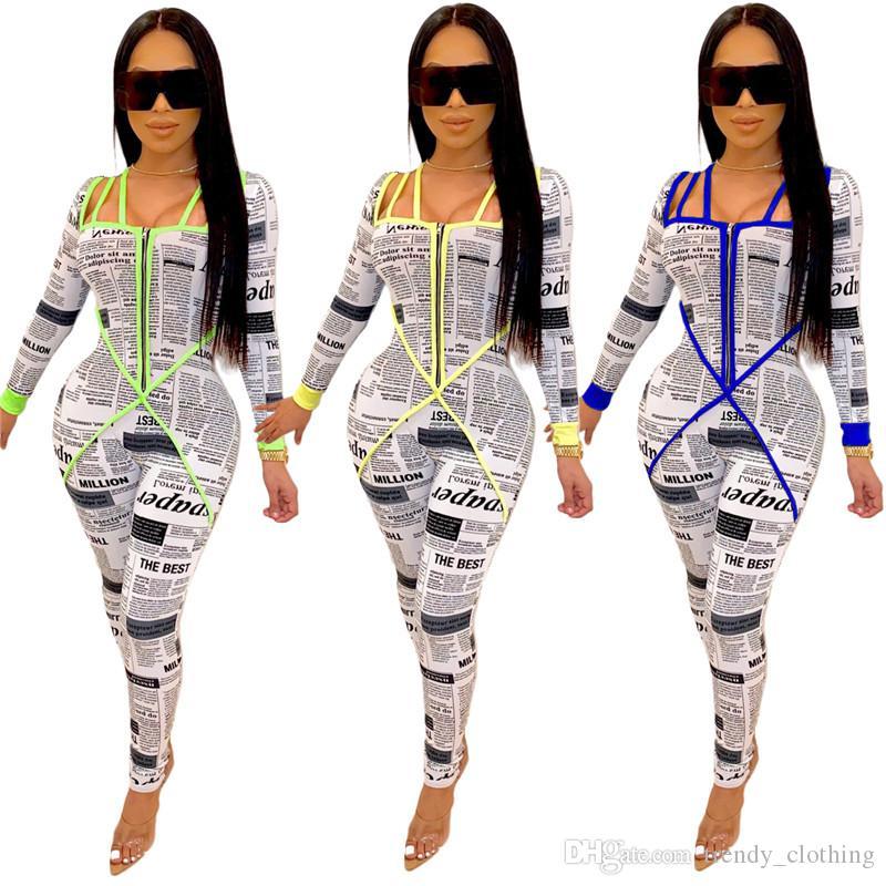 Женщины вскользь печать Комбинезона падение зимней одежда облицована СПОРТИВНОЙ Jumpsuitsrompers тощих штанов газеты с длинным рукавом S-2XL продает DHL 2312