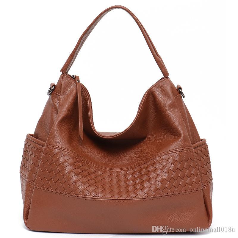Große Mode Tasche Weiche Taschen PU gewebte Seite Handmade Messenger Schulter Lässige Frauen Tasche Hobo Leder Handtasche onxpi