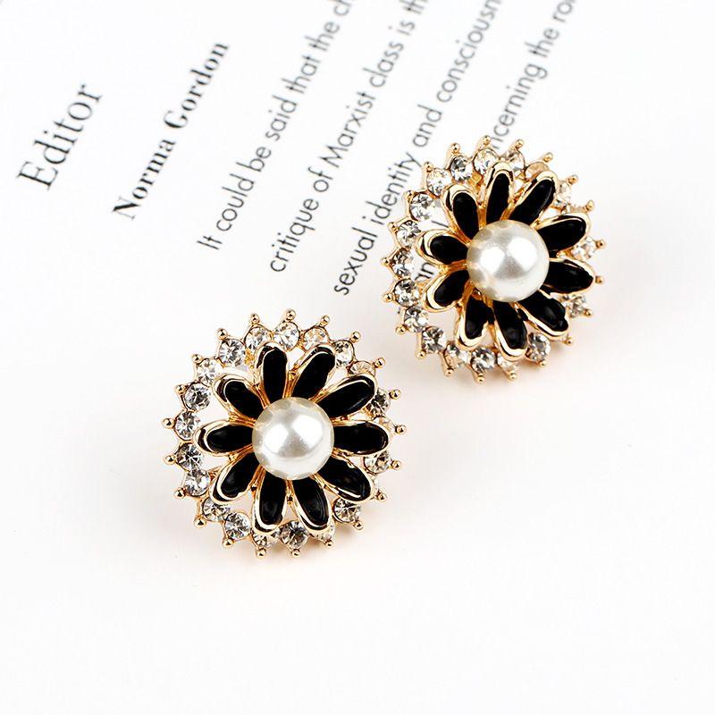 neuer Stil Diamant-embedded mit Perlenblumenohrringen, all-in-one, qualitativ hochwertige für Frauen