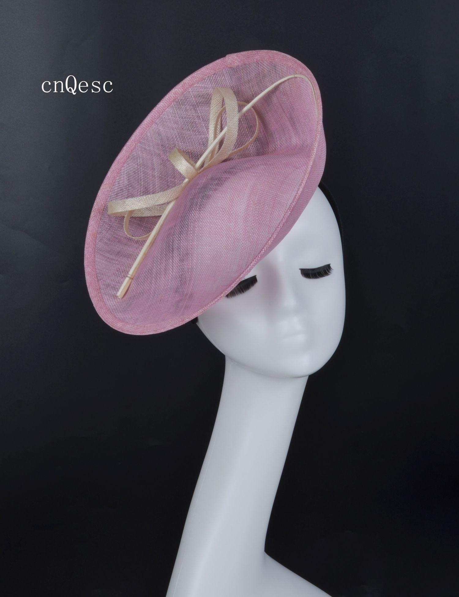 2019 Cappello da abito formale da donna rosa, sinamay, fascinator Kentucky Derby, corse nuziali, addio al nubilato, madre della sposa, con colonna vertebrale