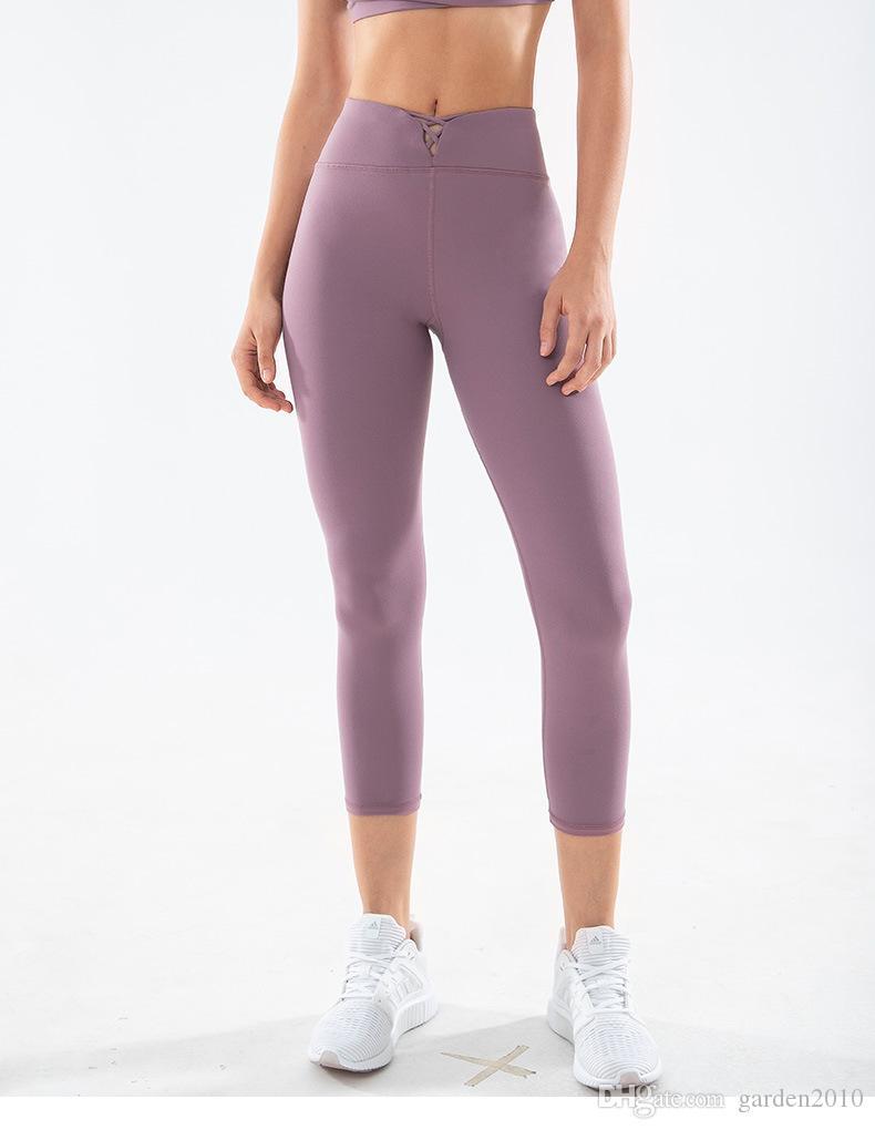 New Pantalones de yoga Women Athletic Cross Lace Up High Waist Capri Yoga Pants Gym Fitness Workout Running Leggings Solid color soft