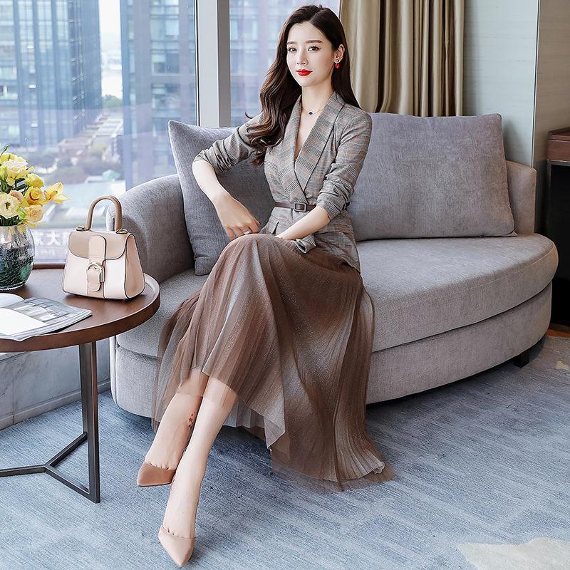 Nueva estación de la edad vestido de traje de moda 2020 vestido de traje de estilo occidental vestido de dos piezas de gasa de cuadrícula