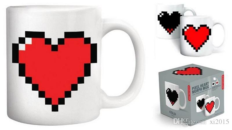 Acheter Créatif Pixel Coeur Couleur Changement Tasse Température Sensible Tasse Café Thé Lait Tasse Nouveauté Cadeaux W9033 De 666 Du Xi2015