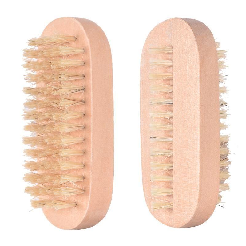 Brosse à ongles poils de sanglier massage en bois double face forme ovale ongles Brosse de nettoyage Petit Spa Pinceaux en bois Brosse