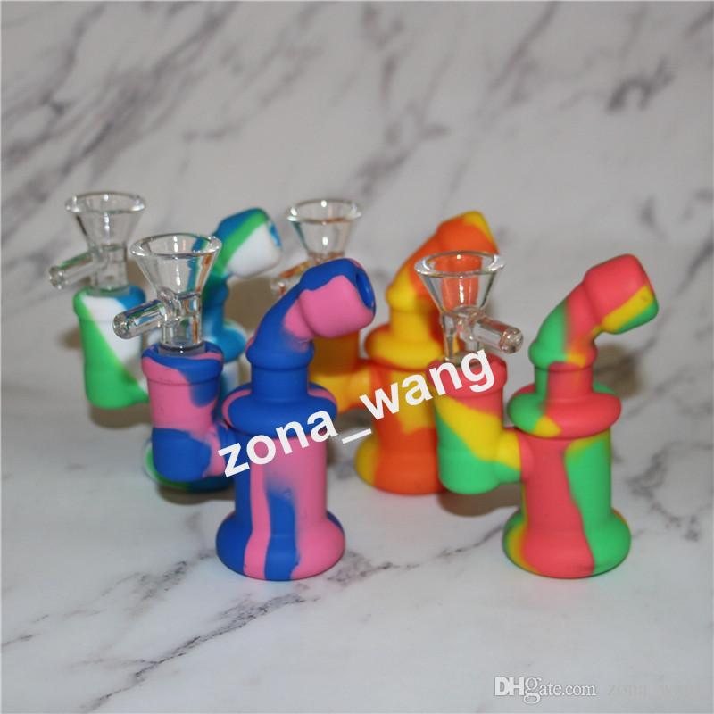 Glass Bong Dab Rig Mini Sherlock bubbler 4.8Inch Unbreakable Silicone Bubbler Water Pipe for Wax Oil Dry Herb Bong Smoking Hookah