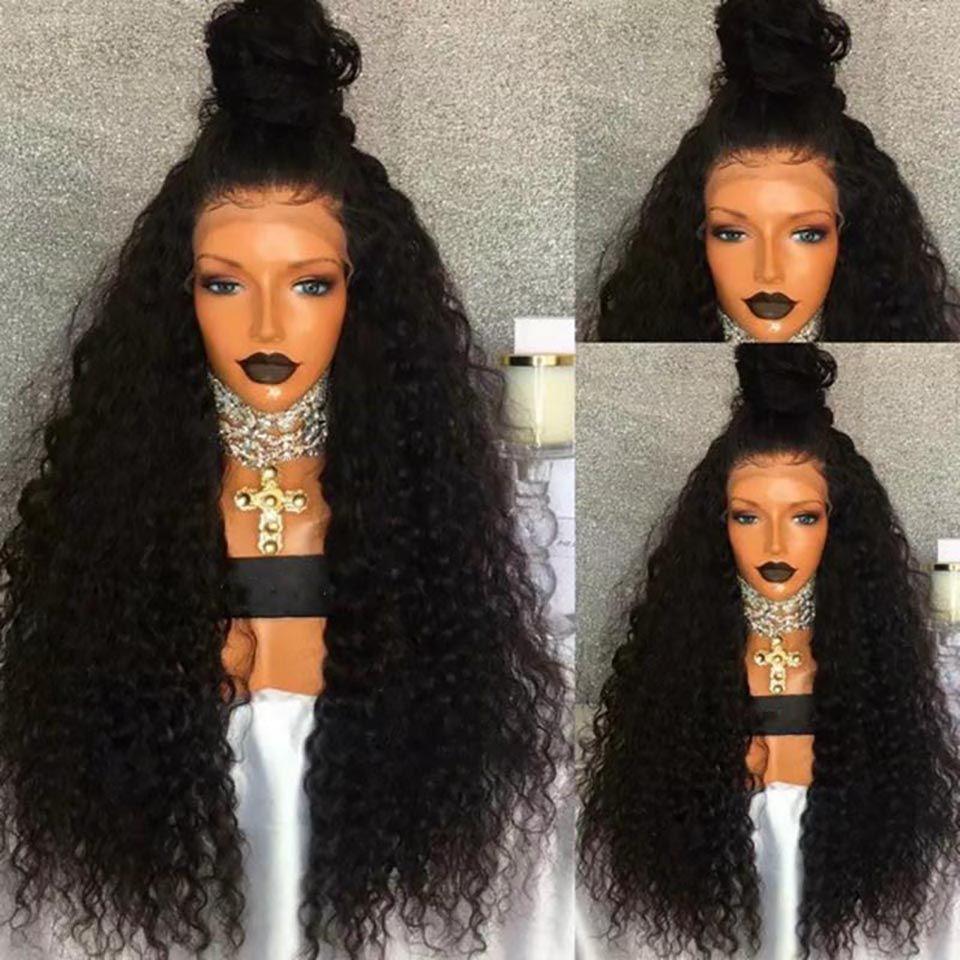 bellezza anteriore del merletto parrucche sintetiche donna selvaggia di seta nera soffici parrucca afro crespi capelli ricci umani della parrucca portare parrucche di modo caldo all'ingrosso