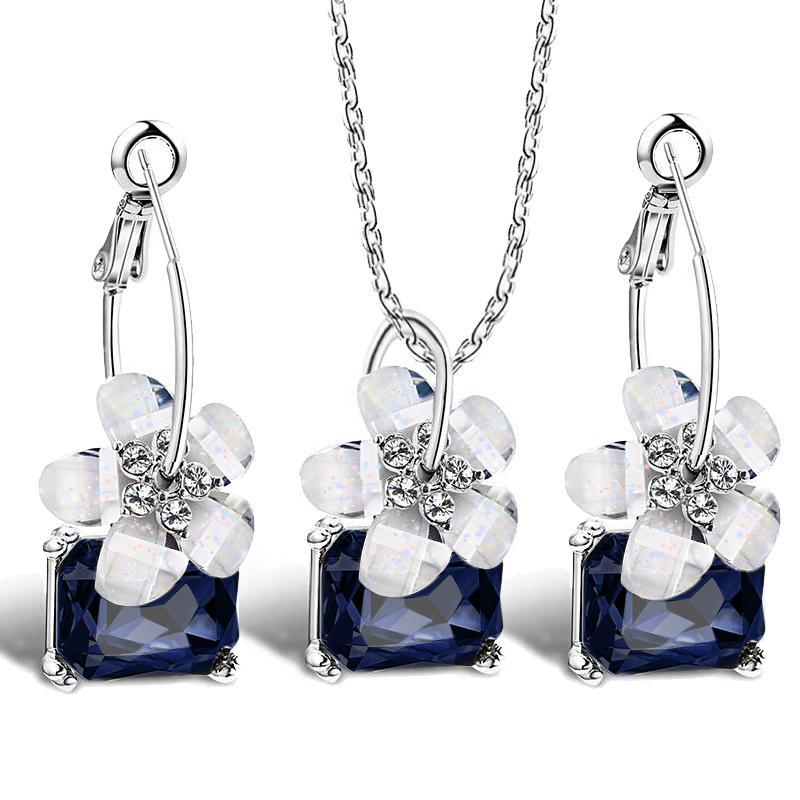 Romantische feine Braut Sets Blau Kristall Bunte Weiße Blume Halskette Große Ohrringe Ohrringe Schmuckset Für Frauen Hochzeit Bijoux
