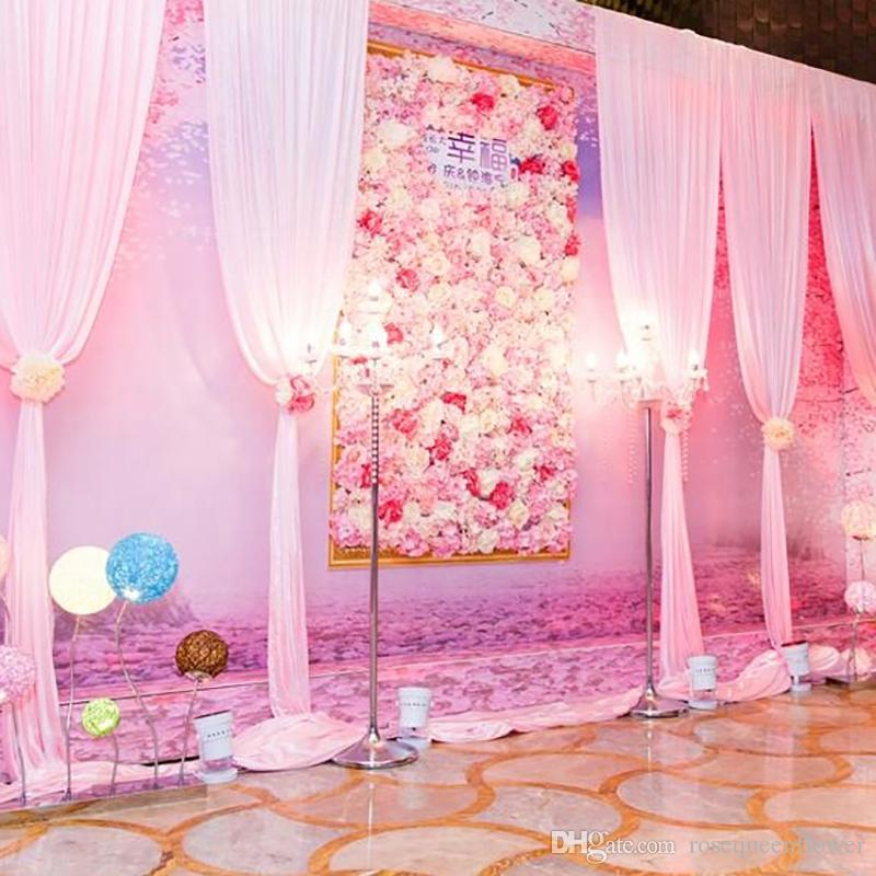 Antecedentes de la boda flor de pared simulada Flower Shop Decoración por la Ventana Rosa Hortensia Alfombra de flores de seda falso Disposición Etapa