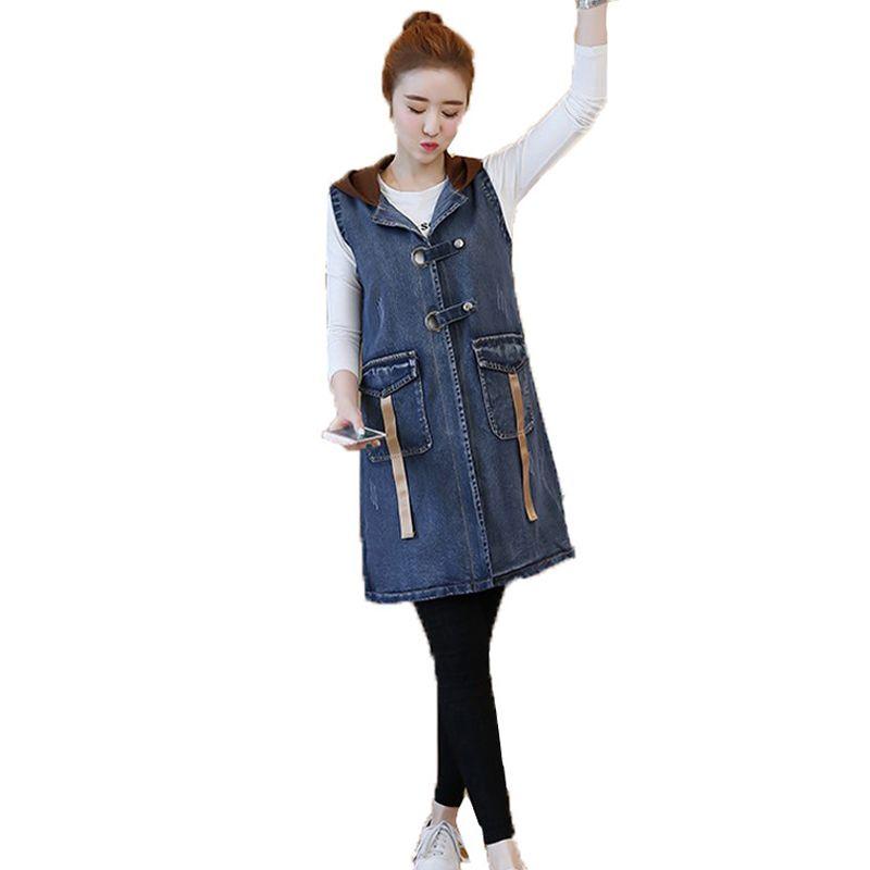 Printemps Eté Court Denim Femmes Gilet 2019 Casual Mince Single Breasted Hooded Jeans Vestes Manteaux Plus La taille 3XL