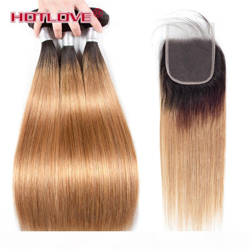 Brazilian Straight Hair Human Hair Weave Bundles with Closure 4PCs Lot Ombre Two Tone Pre-Coloed Honey Blonde Burgundy Red Brown Hotlove
