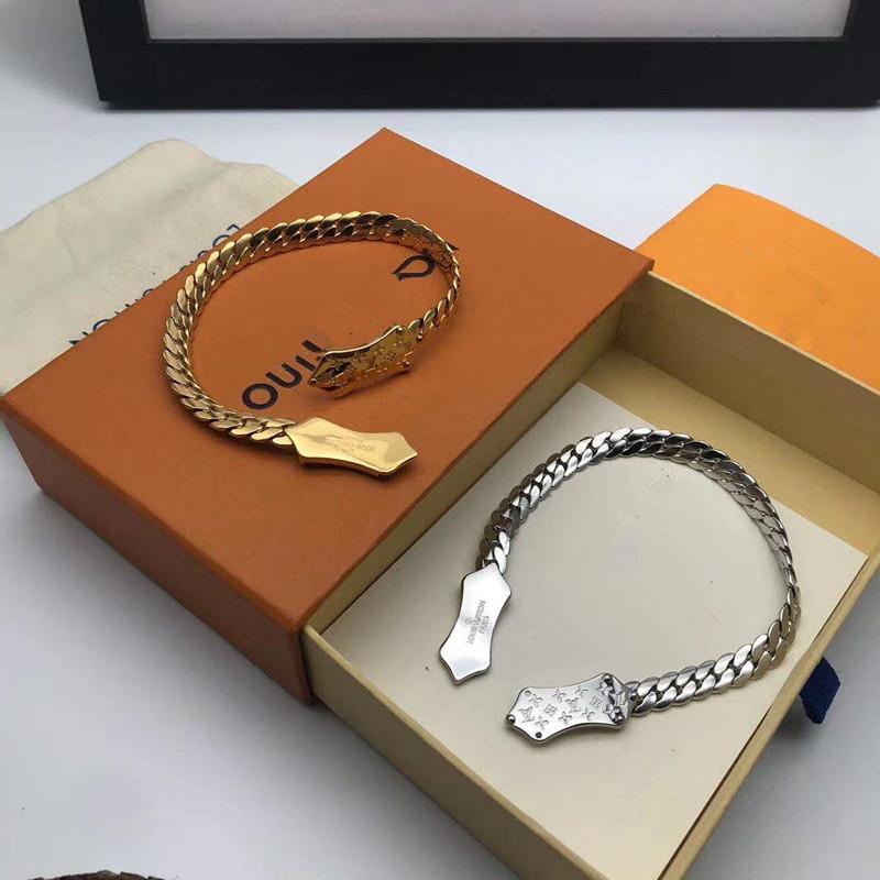 황동 chennes 나노 그램 디자인 뱀 체인 18K 금 목걸이가 새겨진 금속 편지 패턴 꽃 팔찌 하이 엔드 패션 쥬얼리