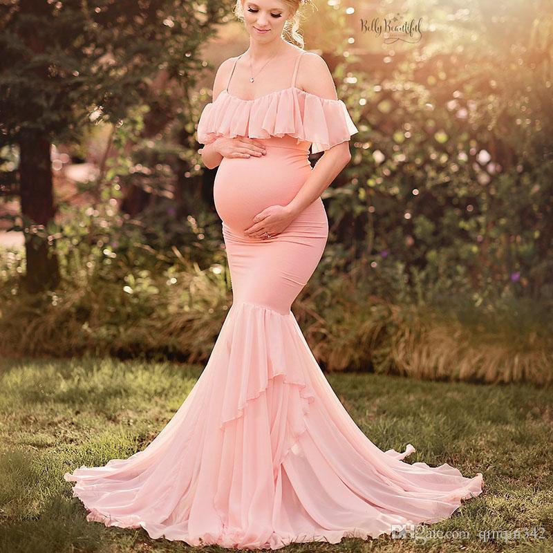 Annelik Fotoğraf Çekimi Için Elbiseler Annelik Fotoğrafçılık Sahne Gebelik Kapalı Omuz Ruffles Maxi Elbiseler Kıyafeti Hamile Giysileri