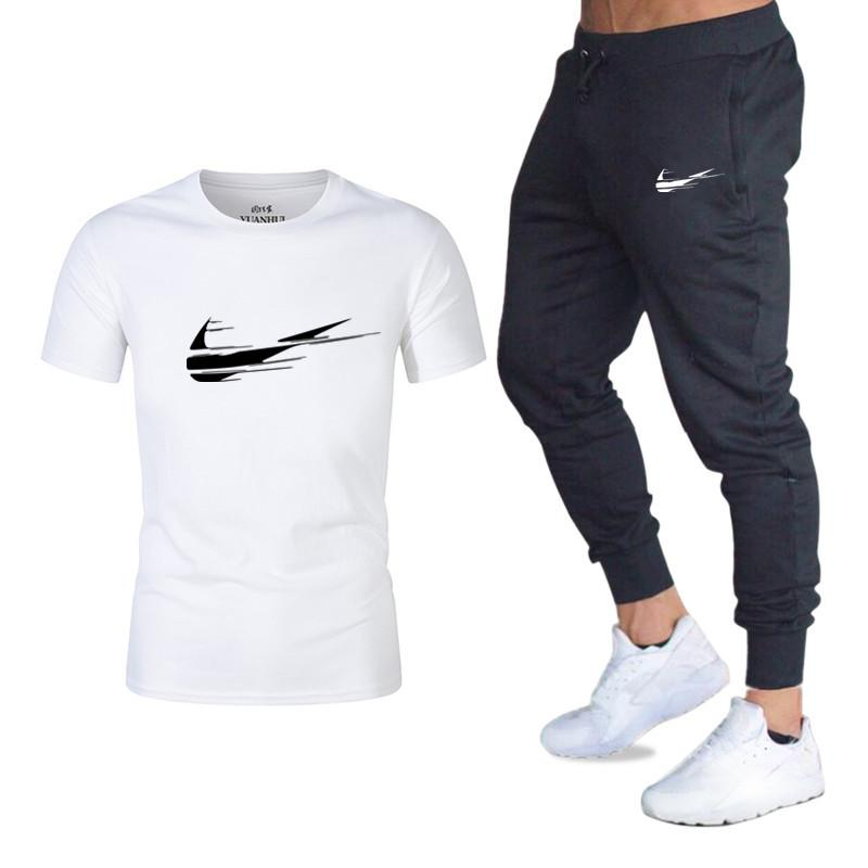 Men Fashion Two Pieces Sets T Shirts+pants Suit Men Summer Tops Tees Fashion Brand Print Tshirt High Quality Sportswears 2 Sets