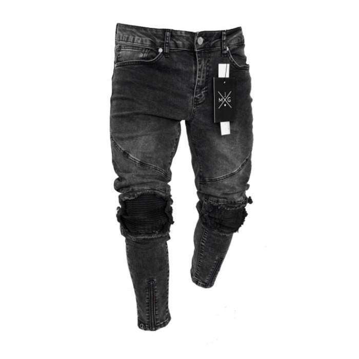 Jeans-Reißverschluss-Loch Burrs Bleistift-Hosen Art und Weise Schwarz-Sommer-beiläufige mittlere Taille der Männer Jeans Herren Beliebte Klassiker