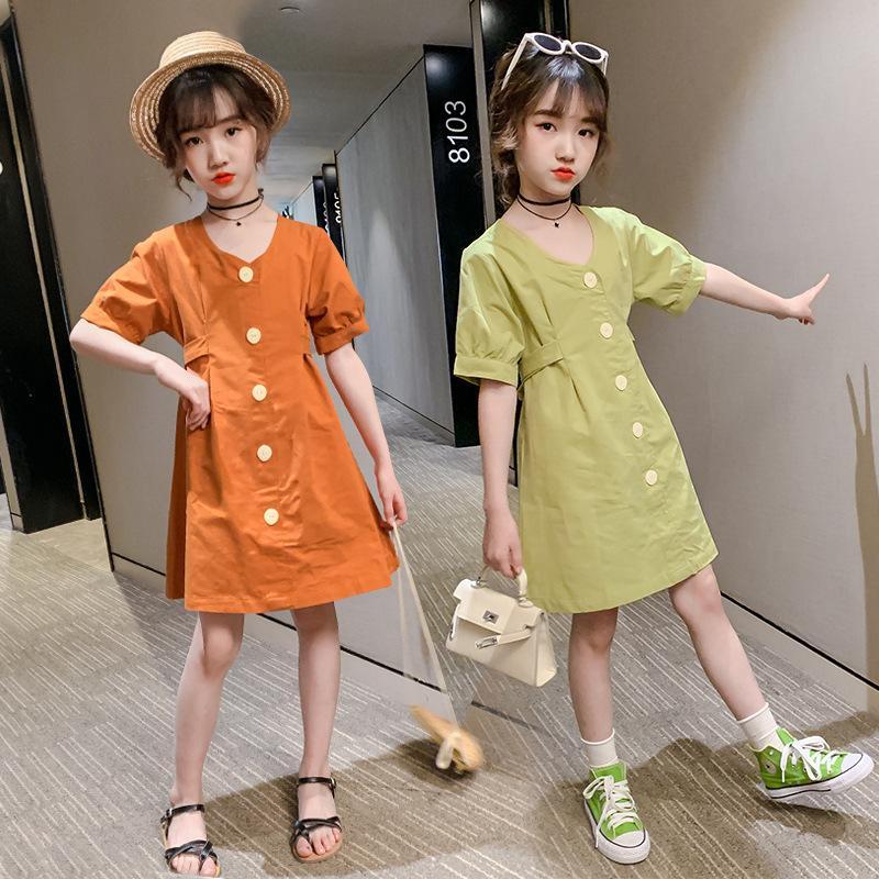 kızlar yaz 13 14 yaşında genç turuncu 2020 yeşil moda çocuk giysileri elbise