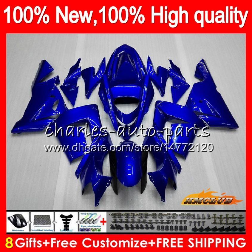 Körper für KAWASAKI ZX 1000 CC ZX 10 R ZX10R 04 05 glänzend blau alle Karosserie 43HC.12 ZX10R 04 05 ZX1000CC 1000CC ZX 10R 2004 2005 Verkleidungs-Kit