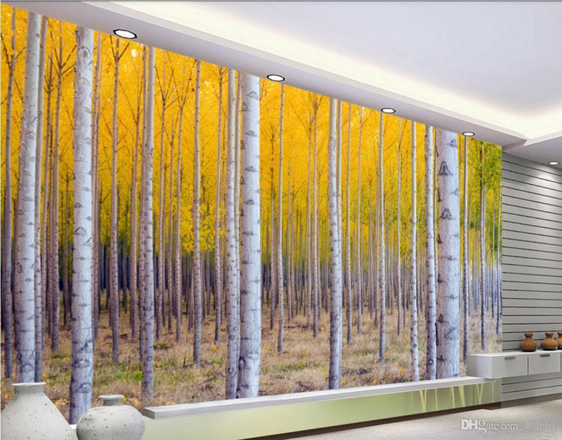 Acheter Papier Peint 3d Décoration D Intérieur Mur Sur Mesure Forêt De Aspen Paysage Murale Peintures Murales 3 D Peintures Murales Papier Peint Pour