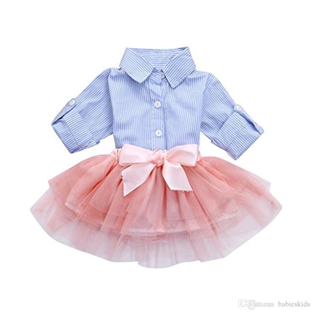 Infant Baby Girl Clothes Princess Skirt Striped Long Sleeve Shirt + Pink Mesh Skirt Tutu Lace Dress Outfit Set