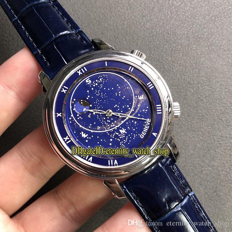 Luxury V2 Edition 5102 Rotating northern hemisphere starry sky map Blue Dial Cal.240 LU CL Automatic Mens Watch Steel Case Designer Watches