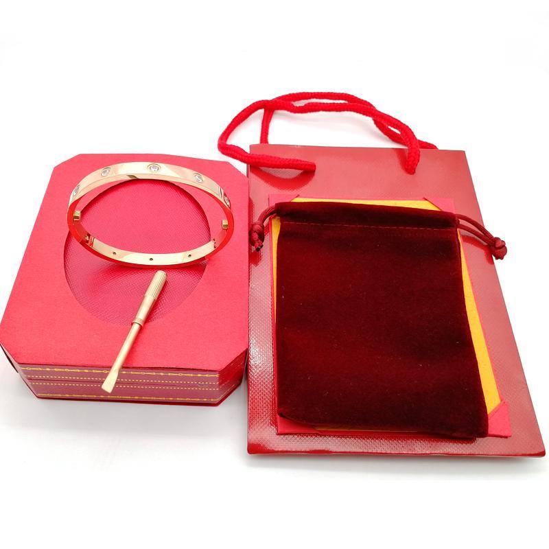 Fashion-steel amor pulseira prata rosa ouro pulseira pulseira mulheres parafusos parafuso chave de fenda pulseira jóias de casal com caixa original conjunto