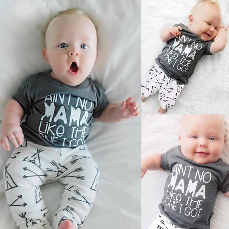 2019 Summer Set Vêtements pour bébé Lettre Is not No Mama Like The One I Got T-Shirt + Flèche Pantalons 2Pcs Bebe enfants Vêtements garçons Tenues