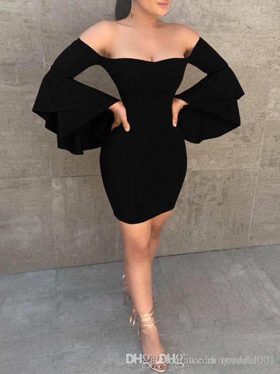 2020 Seksi Kapalı Omuz Siyah Kılıf Kokteyl Parti Elbiseleri Basit Şair Kollu Kısa Mini Balo Abiye