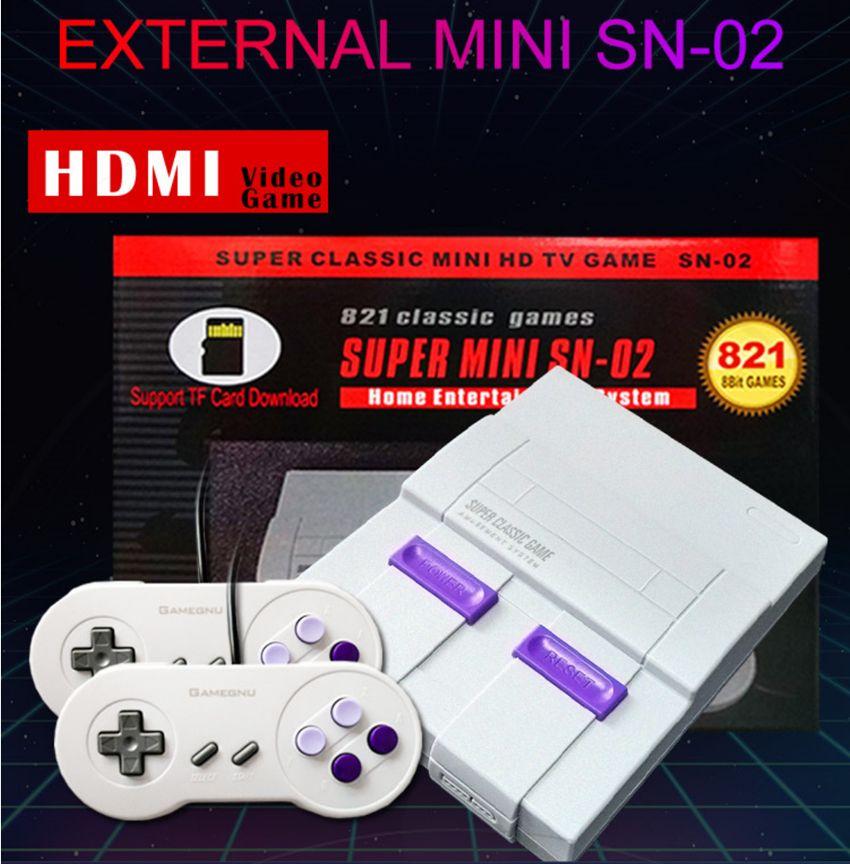 Super Mini SN-02 Home System TV Video Game Jogadores Suporte Duplas Jogadores Handheld Game Console HDMI 1080p HD Out 821 jogos com TF