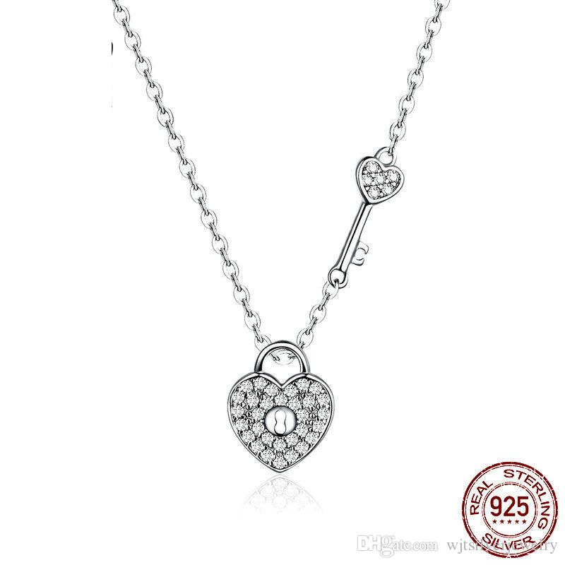 Best Gift Girlfriend 925 Sterling Silver Lock Key Love Heart Pendant CZ Stone Necklace Good Quality Anniversary Gift