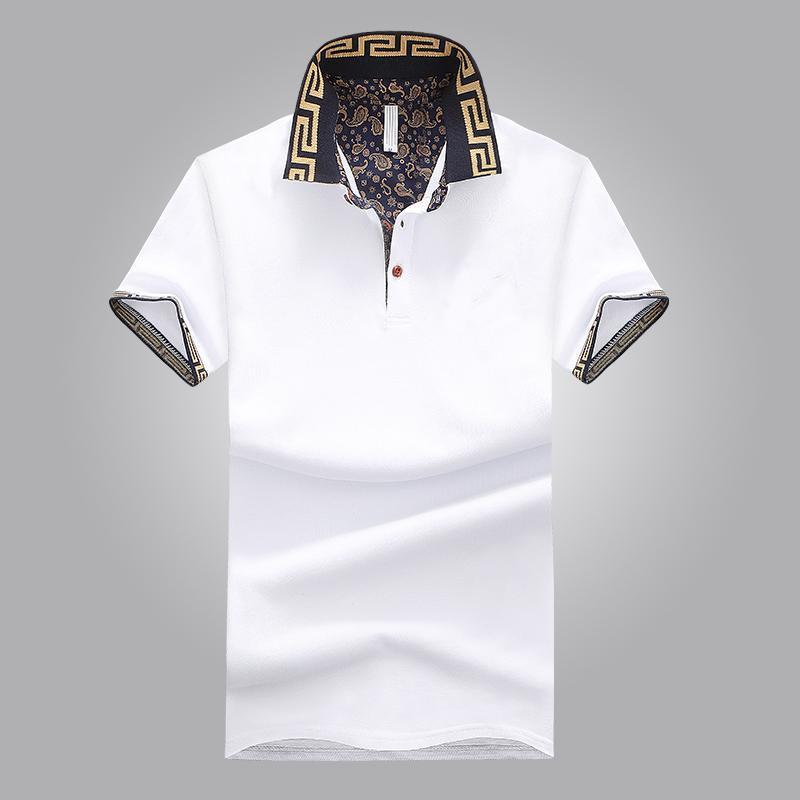 Camisa de ventas caliente de lujo diseño de lujo verano cuello de turno de manga corta camisa de algodón hombres Top WY115