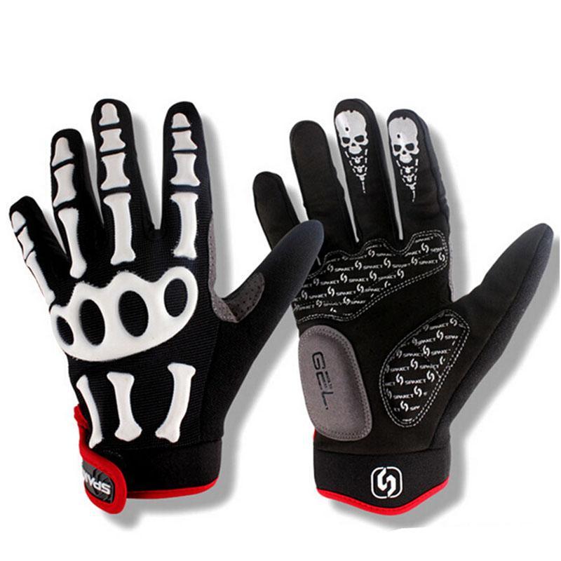 Neue einen.Kreislauf.durchmachenhandschuh Marke Silikongel volle Finger-Handschuhe Schädel-Fahrrad-Männer Anti Slip Sweat für MTB Reiten Grün / Weiß Schwarz