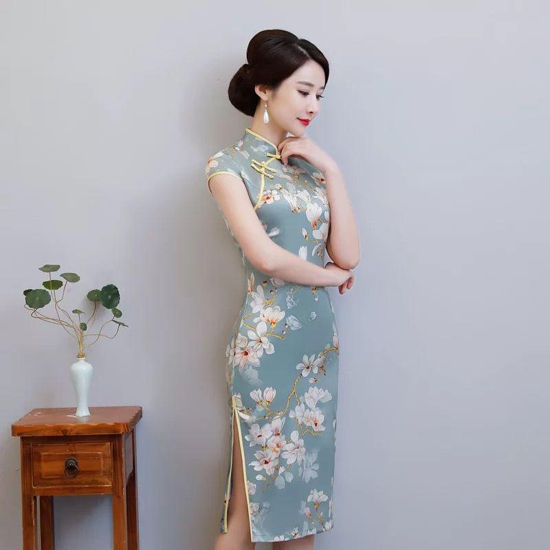 7a4290c18 New Midi Qipao Spring Summer Dress Women elegant Print Cheongsams female  Model SHOW Party Traditional Chinese Dress Vestidos