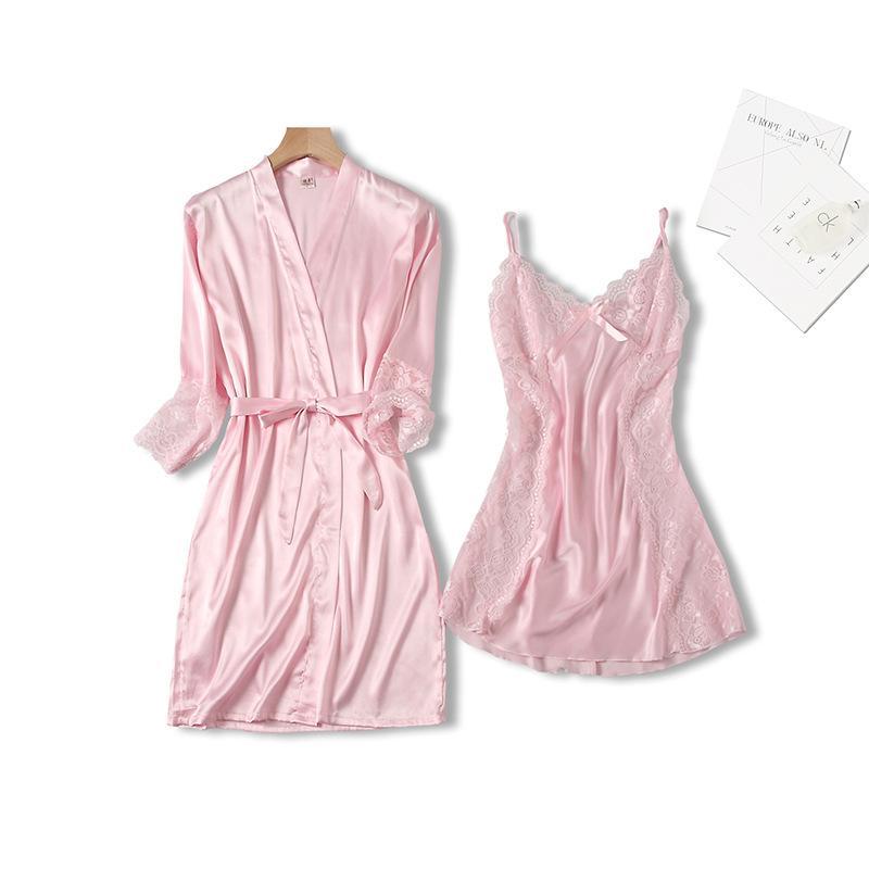 2021 Женщины Мода Мягкий атлас Двухсексуалисты Pajamas Устанавливает Ледяные Шелковые Сексуальные Кружева Ночная Груда Ночная одежда Плюс Размер M-XL