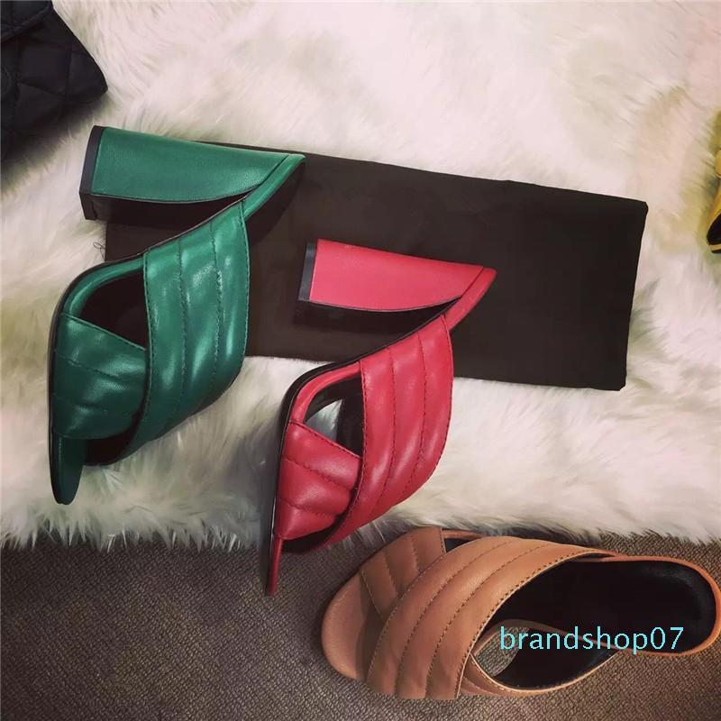 Горячие Продажа-люкс дизайн обуви властвуй Qualitty кожаные летние Кроссовер Сандал Мулы Gold Слайды Блок высоких каблуках сандалии женские тапочки