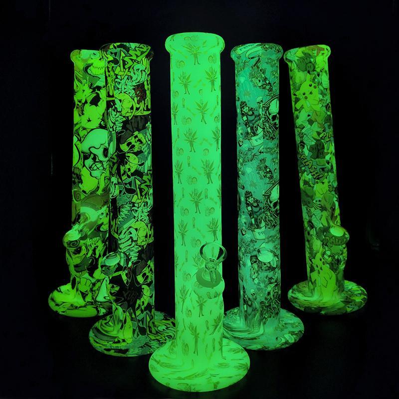 Brilham no escuro Impresso água Tubulações Dab Rigs fumadores Silicone Bong retas Hookah Com Bacia de vidro e silicone águas abaixo Mais recente Bongs
