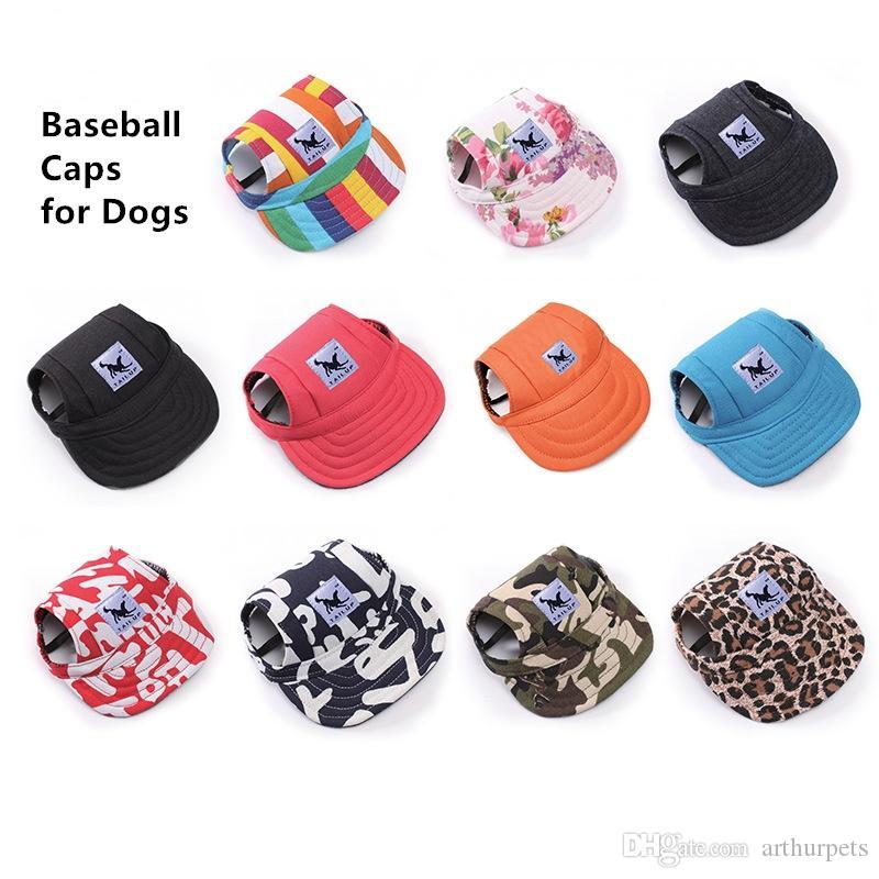 قبعة حيوان أليف للبيسبول من دوج بيتز قبعة رياضية مع واقي للأذن مع حزام للذقن للكلاب والقطط مقاسين 10 ألوان