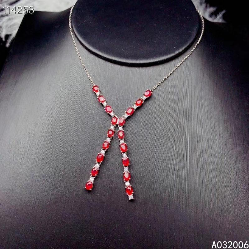 KJJEAXCMY ince takı 925 gümüş Doğal yakut taşlı şık kolye bayanlar kolye destek çeki kakmalı