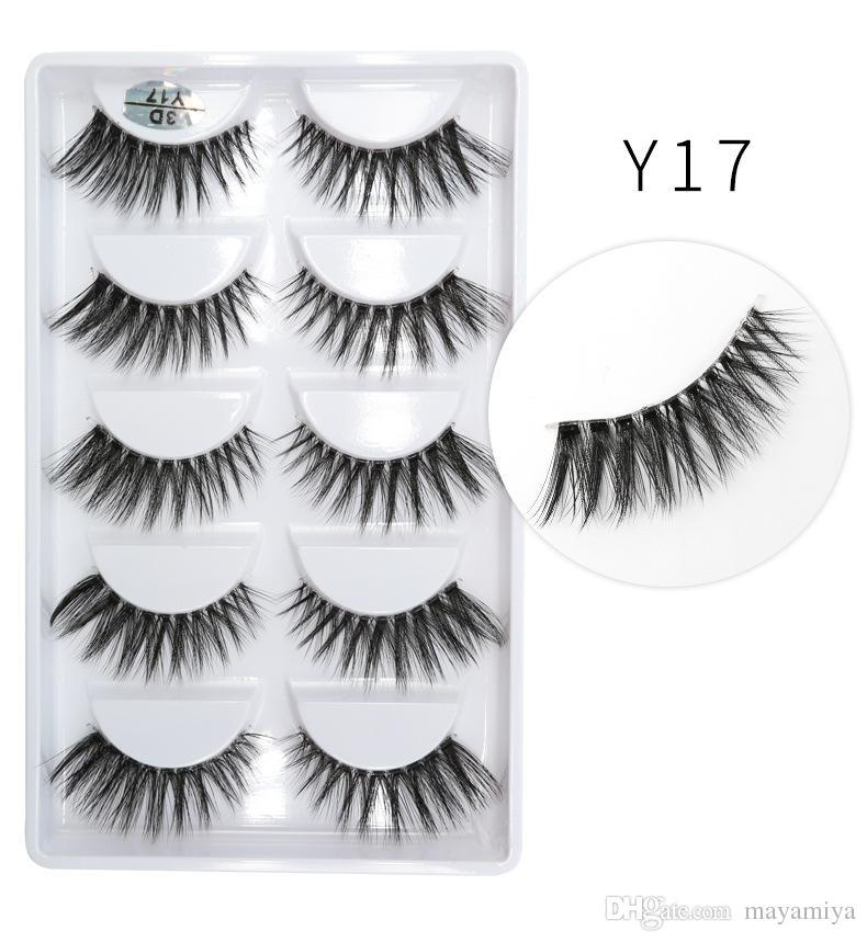 3D-Y17 5pairs/set Y series transparent terrier False EyeLashes 5 Pairs 3D Natural soft silk Eyelashes Handmade eyelashes