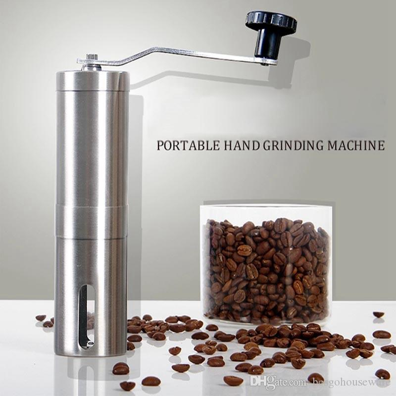مطحنة القهوة آلة القهوة صانع القهوة يدوي 304 الفولاذ المقاوم للصدأ مطحنة الحبوب مطاحن الضغط اليد المحمولة آلة طحن WZL DH2750