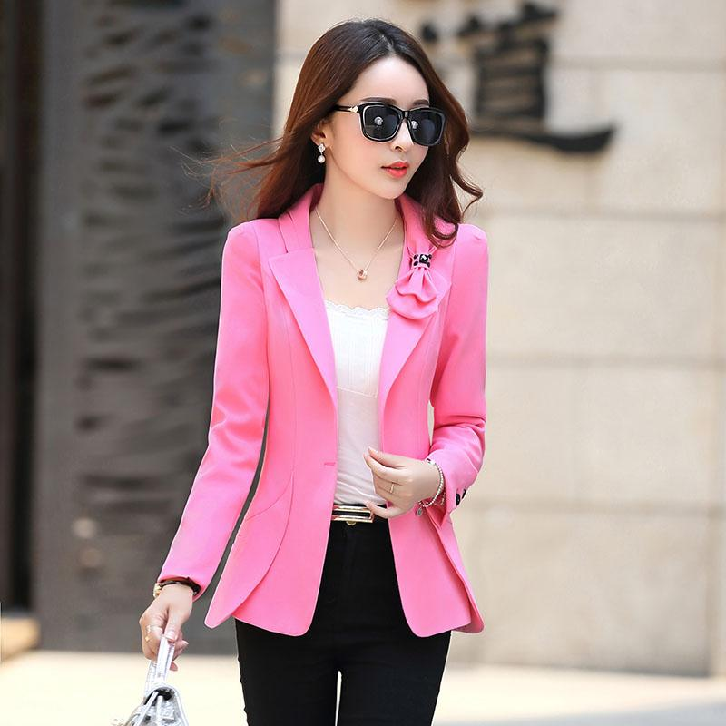 Coreano Femminile vestito nuovo arco casuale delle donne singolo Blazer selvaggio Slim singola piccola giacca a maniche lunghe di colore rosa Ufficio Red Blazer