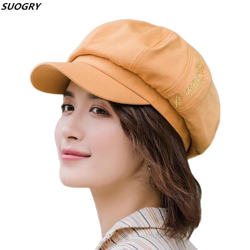 SUOGRY Pamuk Blend Ressam Newsboy Şapka Caps Kadınlar Kış Siperlik Casquette Gorras Gavroche Zarif Vintage Moda